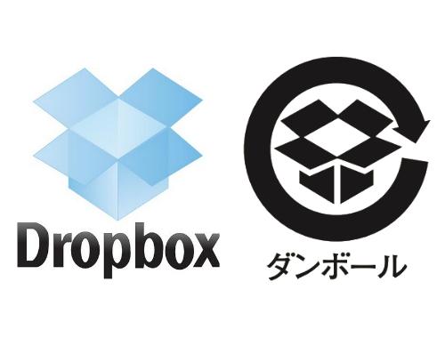 Dropbox 段ボールのリサイクルマーク 比較